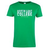 Ladies Kelly Green T Shirt-Block Type