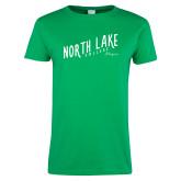 Ladies Kelly Green T Shirt-Fancy Script