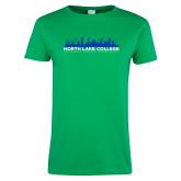 Ladies Kelly Green T Shirt-Dallas Skyline