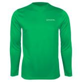 Performance Kelly Green Longsleeve Shirt-Primary Mark - Horizontal