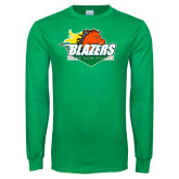 Kelly Green Long Sleeve T Shirt-Blazers Stacked
