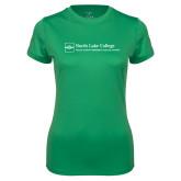 Ladies Syntrel Performance Kelly Green Tee-Primary Mark - Horizontal