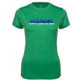 Ladies Syntrel Performance Kelly Green Tee-Dallas Skyline