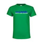 Youth Kelly Green T Shirt-Dallas Skyline