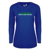 Ladies Syntrel Performance Royal Longsleeve Shirt-Dallas Skyline