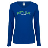 Ladies Royal Long Sleeve V Neck Tee-Arched
