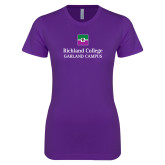Next Level Ladies SoftStyle Junior Fitted Purple Tee-Garland Campus