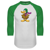 White/Kelly Green Raglan Baseball T Shirt-Duck with Scarf