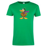 Ladies Kelly Green T Shirt-Duck with Scarf