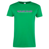 Ladies Kelly Green T Shirt-Collegiate Stacked