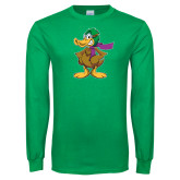 Kelly Green Long Sleeve T Shirt-Duck with Scarf