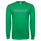 Kelly Green Long Sleeve T Shirt-Collegiate Stacked