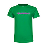Youth Kelly Green T Shirt-Collegiate Stacked