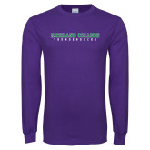 Purple Long Sleeve T Shirt-Collegiate Stacked
