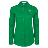 Ladies Kelly Green Twill Button Down Long Sleeve-Mom