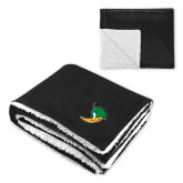 Super Soft Luxurious Black Sherpa Throw Blanket-Thunderduck Side