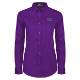 Ladies Purple Twill Button Down Long Sleeve-Volleyball
