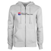 ENZA Ladies White Fleece Full Zip Hoodie-Primary Mark - Horizontal