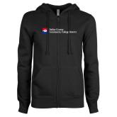 ENZA Ladies Black Fleece Full Zip Hoodie-Primary Mark - Horizontal