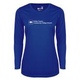 Ladies Syntrel Performance Royal Longsleeve Shirt-Primary Mark - Horizontal