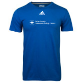 Dallas County Comm Adidas Climalite Royal Ultimate Performance Tee-Primary Mark - Horizontal