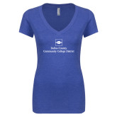 Next Level Ladies Vintage Royal Tri Blend V Neck Tee-Primary Mark
