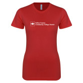 Next Level Ladies SoftStyle Junior Fitted Red Tee-Primary Mark - Horizontal