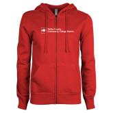 ENZA Ladies Red Fleece Full Zip Hoodie-Primary Mark - Horizontal