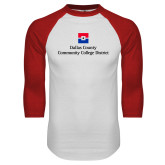 White/Red Raglan Baseball T Shirt-Primary Mark