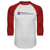 White/Red Raglan Baseball T Shirt-Primary Mark - Horizontal