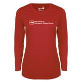 Ladies Syntrel Performance Red Longsleeve Shirt-Primary Mark - Horizontal
