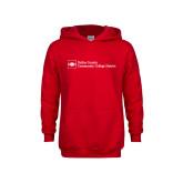 Youth Red Fleece Hoodie-Primary Mark - Horizontal