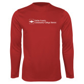 Performance Red Longsleeve Shirt-Primary Mark - Horizontal