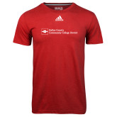 Dallas County Comm Adidas Climalite Red Ultimate Performance Tee-Primary Mark - Horizontal