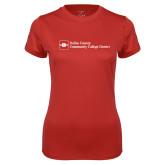 Ladies Syntrel Performance Red Tee-Primary Mark - Horizontal