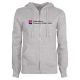 ENZA Ladies Grey Fleece Full Zip Hoodie-Primary Mark - Horizontal
