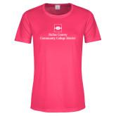 Ladies Performance Hot Pink Tee-Primary Mark