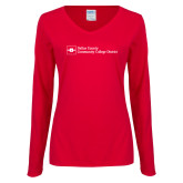 Ladies Red Long Sleeve V Neck Tee-Primary Mark - Horizontal