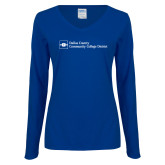 Ladies Royal Long Sleeve V Neck Tee-Primary Mark - Horizontal