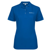 Ladies Easycare Royal Pique Polo-Primary Mark - Horizontal