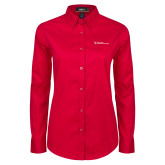 Ladies Red Twill Button Down Long Sleeve-Primary Mark - Horizontal