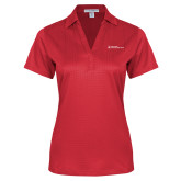 Ladies Red Performance Fine Jacquard Polo-Primary Mark - Horizontal