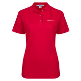 Ladies Easycare Red Pique Polo-Primary Mark - Horizontal