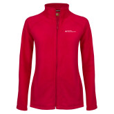 Ladies Fleece Full Zip Red Jacket-Primary Mark - Horizontal