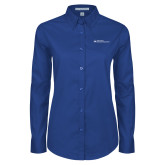 Ladies Royal Twill Button Down Long Sleeve-Primary Mark - Horizontal