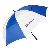 62 Inch Royal/White Vented Umbrella-Primary Mark - Horizontal