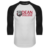 White/Black Raglan Baseball T Shirt-Dean College w/ Bulldog Head