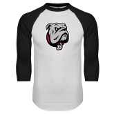 White/Black Raglan Baseball T Shirt-Bulldog Head