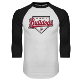 White/Black Raglan Baseball T Shirt-Baseball Plate Design