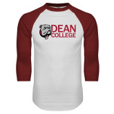 White/Cardinal Raglan Baseball T Shirt-Dean College w/ Bulldog Head